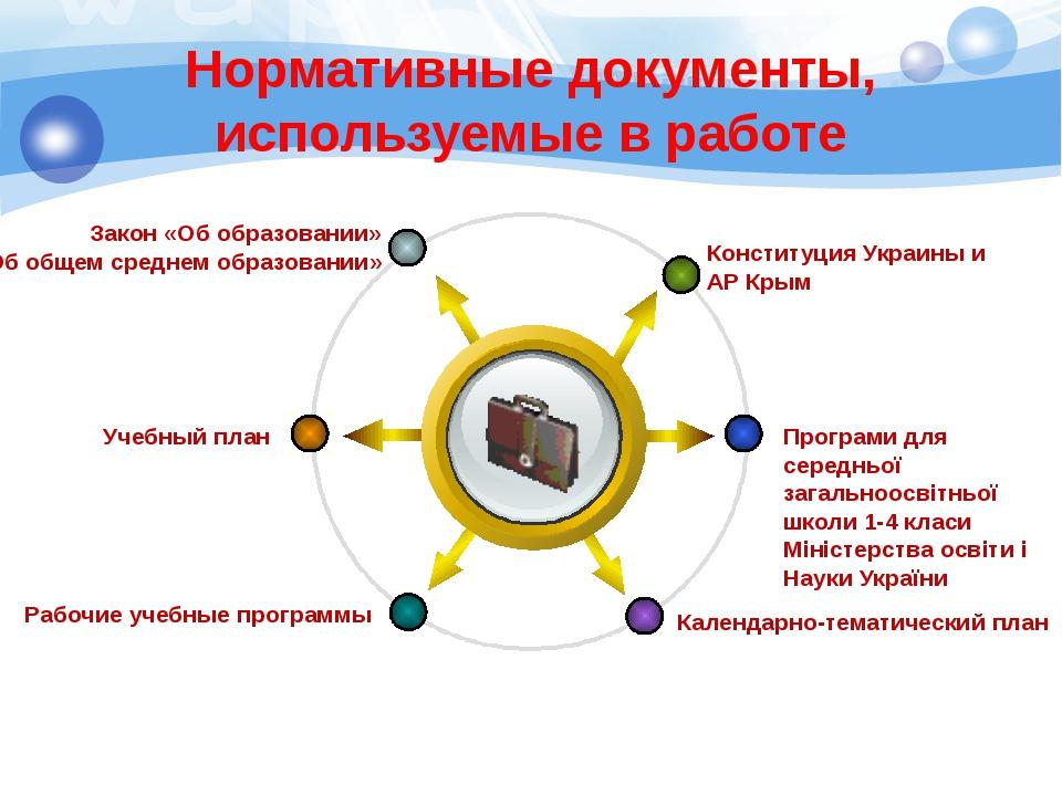 Нормативные документы, используемые в работе Title Конституция Украины и АР К...