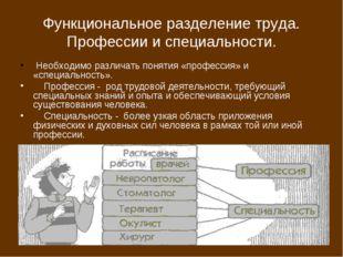 Функциональное разделение труда. Профессии и специальности. Необходимо различ
