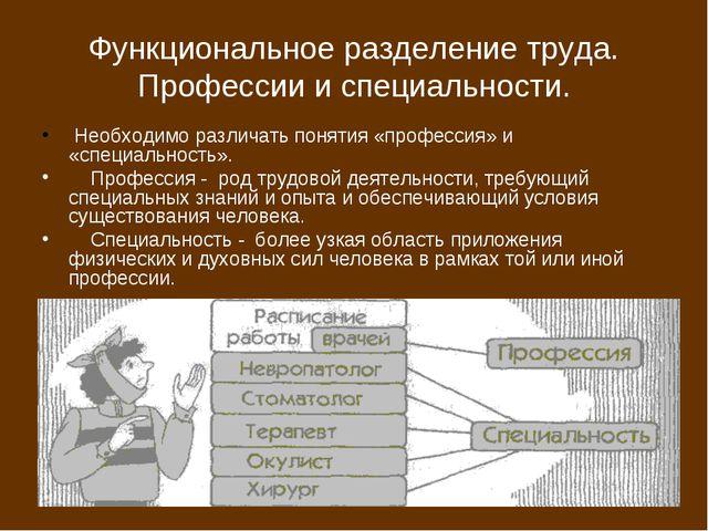 Функциональное разделение труда. Профессии и специальности. Необходимо различ...