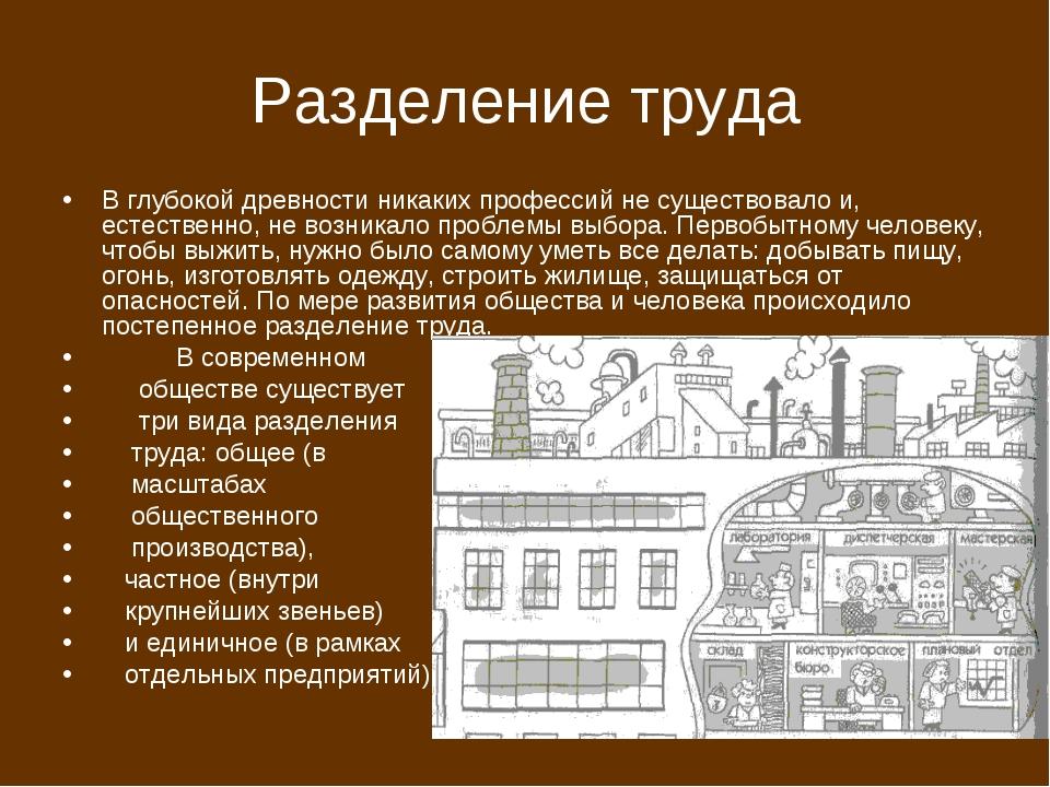 Разделение труда В глубокой древности никаких профессий не существовало и, ес...