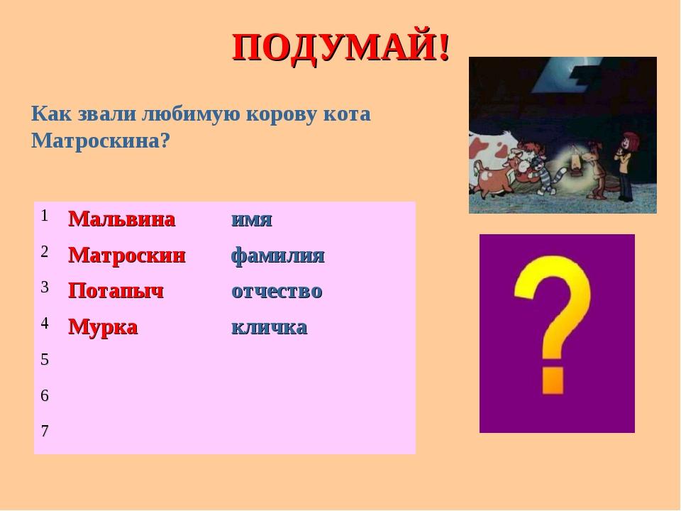 ПОДУМАЙ! Как звали любимую корову кота Матроскина? 1Мальвинаимя 2Матроскин...