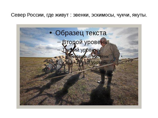 Север России, где живут : эвенки, эскимосы, чукчи, якуты.