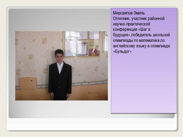 Мирсаяпов Эмиль Отличник,участник районной научно-практической конференции Ми...