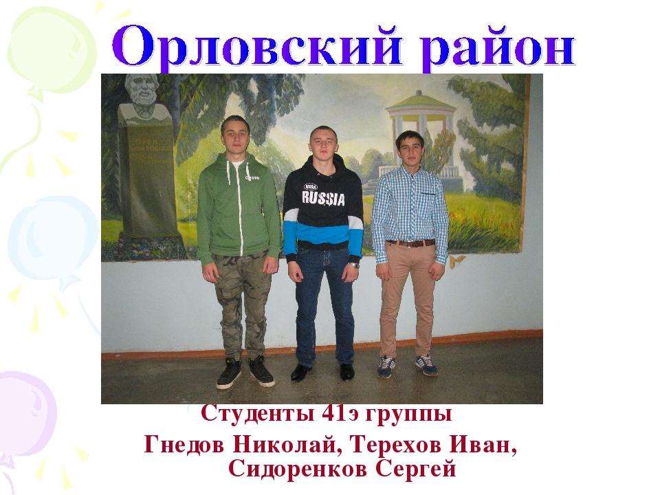 Студенты 41э группы Гнедов Николай, Терехов Иван, Сидоренков Сергей