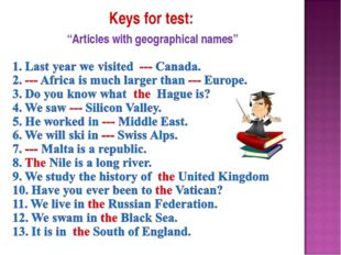 "Keys for test: ""Articles with geographical names"""