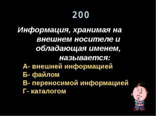 200 Информация, хранимая на внешнем носителе и обладающая именем, называется: