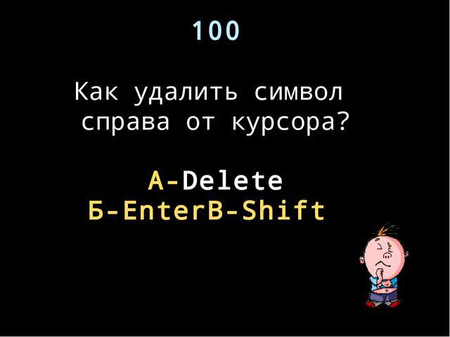 100 Как удалить символ справа от курсора? А-Delete Б-Enter В-Shift