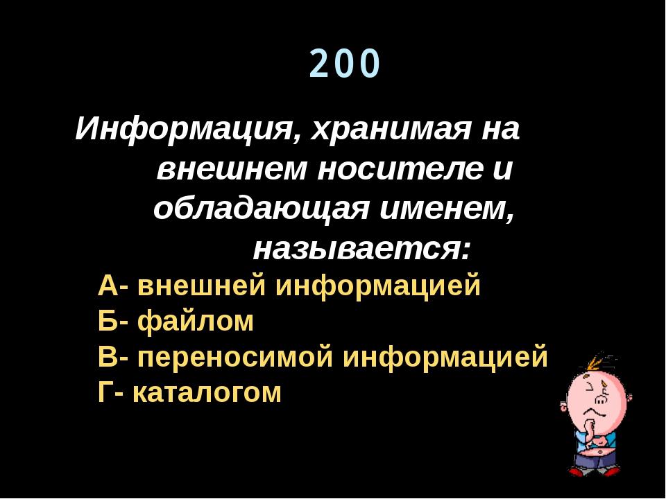 200 Информация, хранимая на внешнем носителе и обладающая именем, называется:...