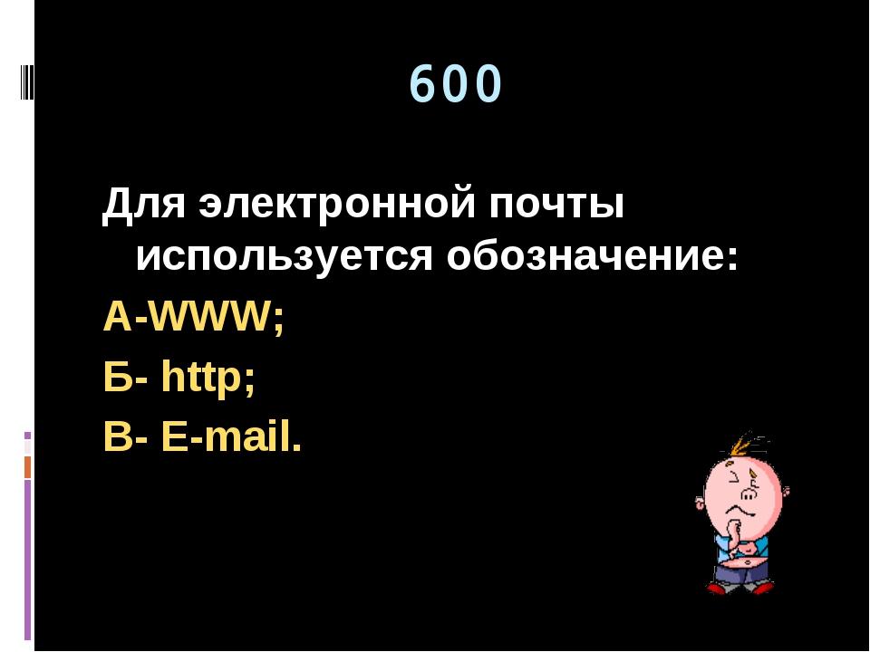 600 Для электронной почты используется обозначение: А-WWW; Б- http; В- E-mail.