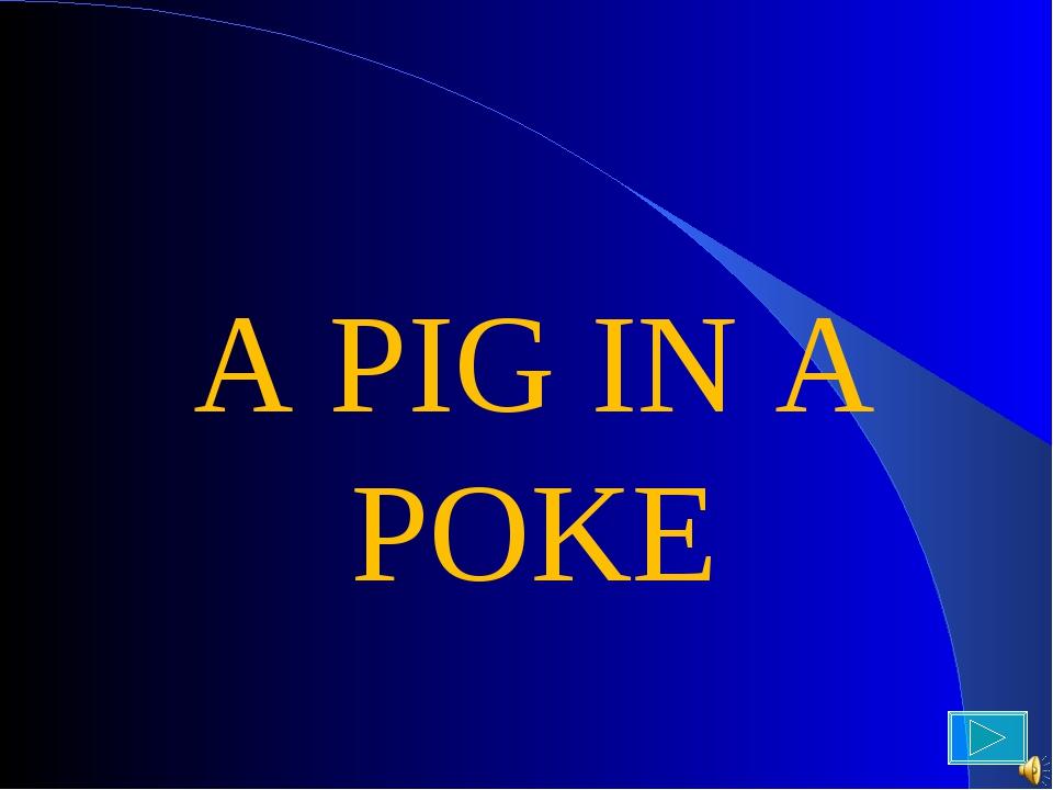 A PIG IN A POKE A PIG IN A POKE