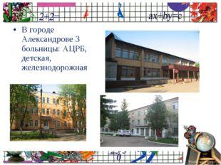 В городе Александрове 3 больницы: АЦРБ, детская, железнодорожная ProPowerPoin