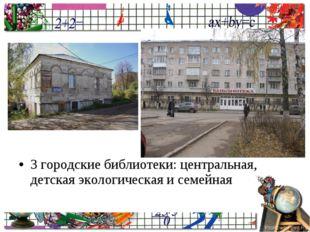 3 городские библиотеки: центральная, детская экологическая и семейная ProPowe