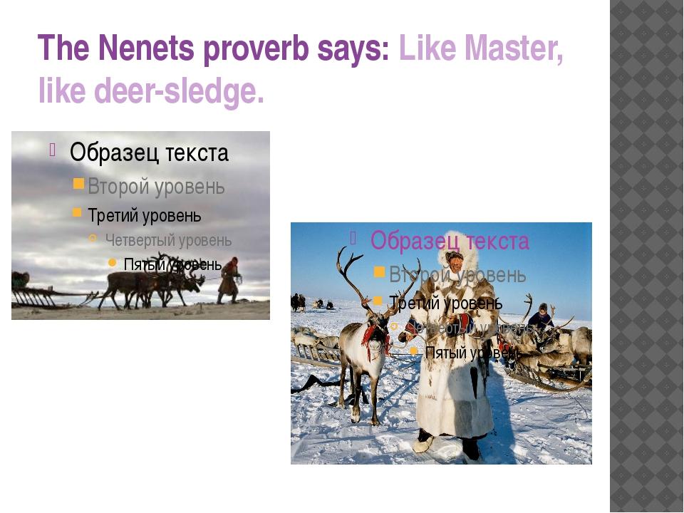 The Nenets proverb says: Like Master, like deer-sledge.