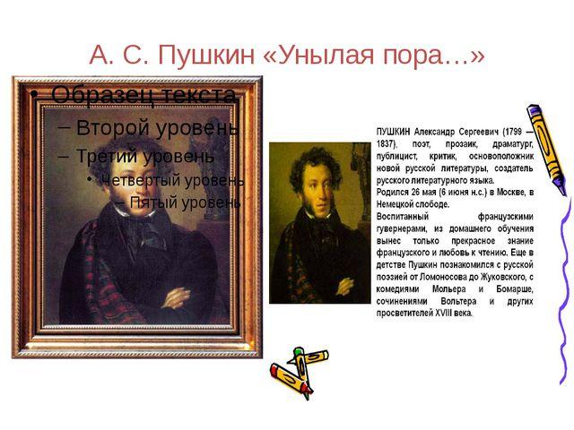А. С. Пушкин «Унылая пора…»