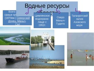 Всего 150 рек самые крупные: Дон, (1870км.) Северский Донец, Маныч, Сал Водны
