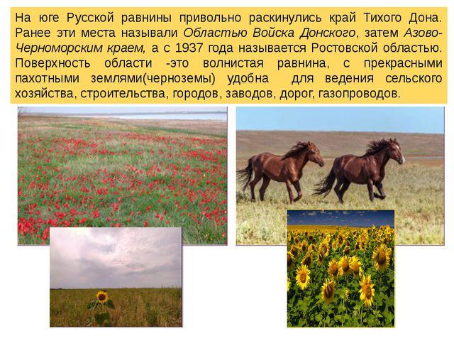 На юге Русской равнины привольно раскинулись край Тихого Дона. Ранее эти мест...