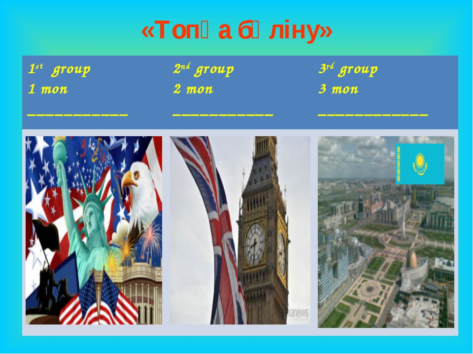 «Топқа бөліну» 1st group 1 топ ___________2nd group 2 топ ___________3rd gr...