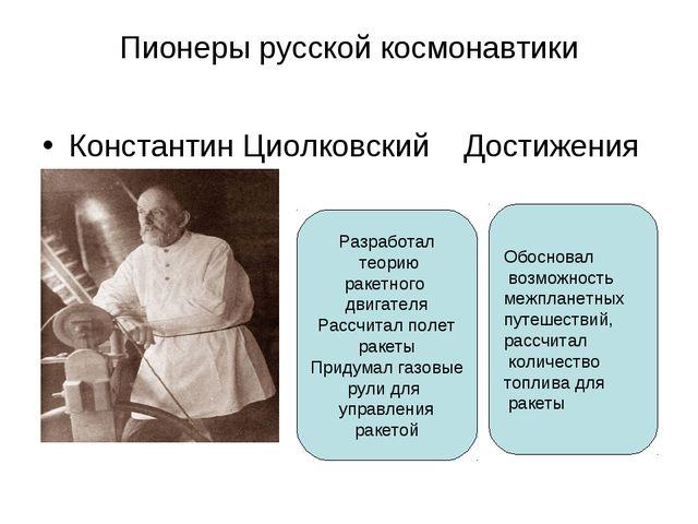 Пионеры русской космонавтики Константин Циолковский Достижения Разработал тео...