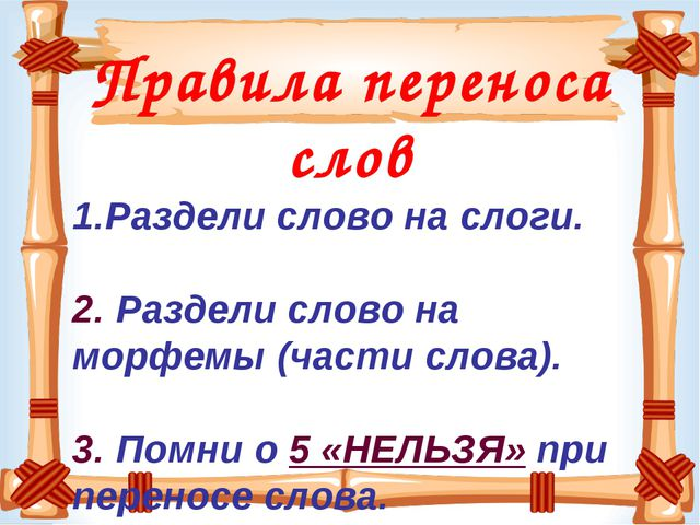 Правила переноса слов Раздели слово на слоги. 2. Раздели слово на морфемы (ча...