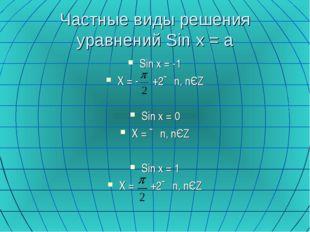 Частные виды решения уравнений Sin x = a Sin x = -1 Х = - +2∏n, nЄZ Sin x = 0