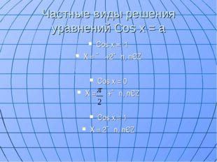 Частные виды решения уравнений Cos x = a Cos x = -1 Х = ∏ +2∏n, nЄZ Cos x = 0