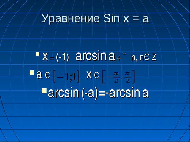 Уравнение Sin x = a X = (-1)ⁿ arcsin a + ∏n, nЄ Z a Є  x Є  arcsin (-a)=-...
