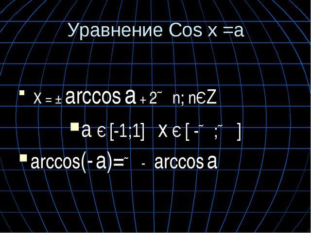 Уравнение Cos x =a X = ± arccos a + 2∏n; nЄZ a Є [-1;1] x Є [ -∏;∏ ] arccos(-...