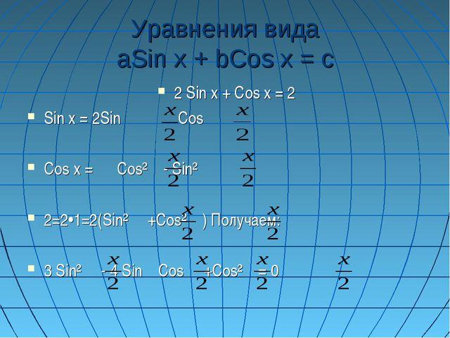 Уравнения вида aSin x + bCos x = c 2 Sin x + Cos x = 2 Sin x = 2Sin  Cos Co...