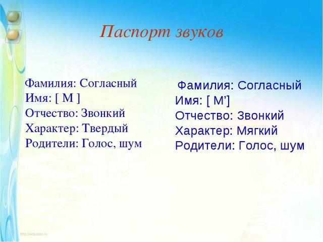 Паспорт звуков Фамилия:Согласный Имя: [ М ] Отчество: Звонкий Характер:Твер...