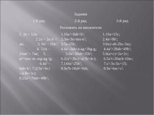 Задания 1-й ряд2-й ряд3-й ряд Разложить на множители 1. 3а + 12в; 2.2а +
