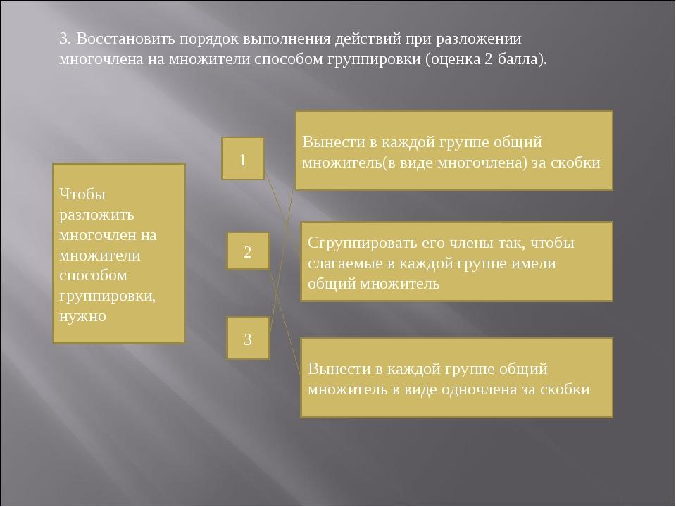 3. Восстановить порядок выполнения действий при разложении многочлена на множ...