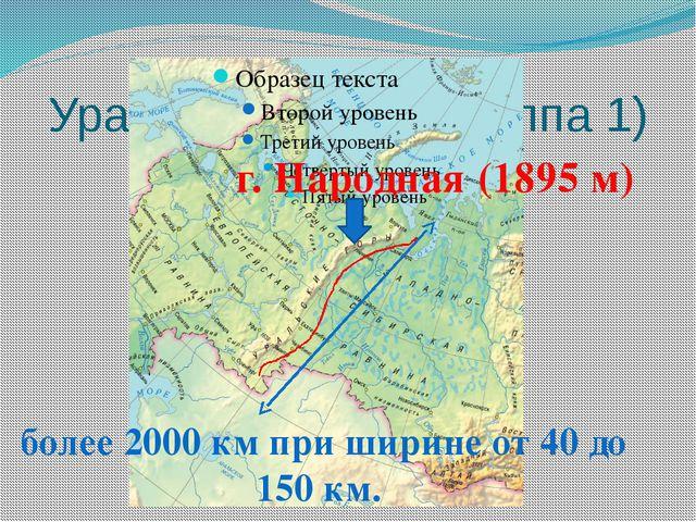 Уральские горы (группа 1) г. Народная (1895 м) более 2000 км при ширине от 40...