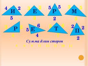 4 2 5 И 3 2 3 Е 3 5 5 5 5 2 Р М 3 2 2 2 2 5 5 4 4 6 6 7 Р Е Т П Сумма длин с