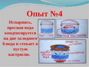 Опыт №4 Испаряясь, пресная вода конденсируется на дне холодного блюда и стека