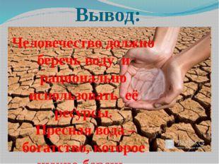 Вывод: Человечество должно беречь воду и рационально использовать её ресурсы.