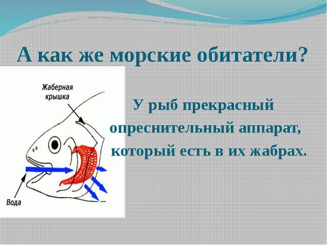 А как же морские обитатели? У рыб прекрасный опреснительный аппарат, который...