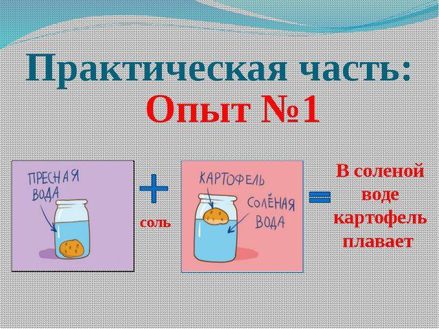 Практическая часть: соль В соленой воде картофель плавает Опыт №1