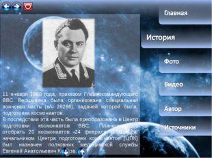 11 января 1960 года, приказом Главнокомандующего ВВС Вершинина была организо
