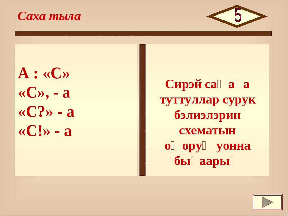 А : «С» «С», - а «С?» - а «С!» - а Саха тыла Сирэй саҥаҕа туттуллар сурук бэл...