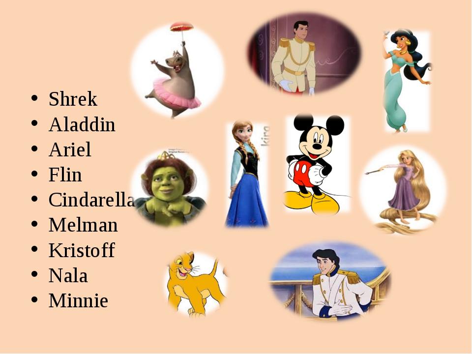 Shrek Aladdin Ariel Flin Cindarella Melman Kristoff Nala Minnie