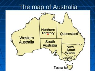 The map of Australia