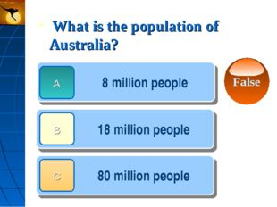 What is the population of Australia? 8 million people 18 million people 80 m