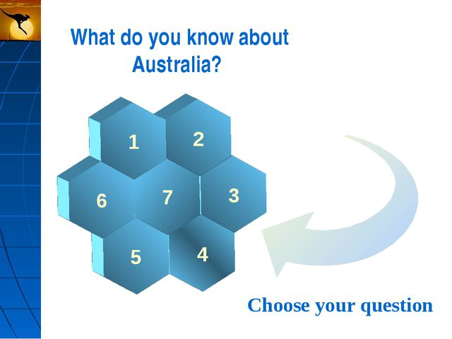 What do you know about Australia? 3 2 4 7 1 5 6 Choose your question