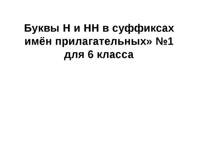 Буквы Н и НН в суффиксах имён прилагательных» №1 для 6 класса