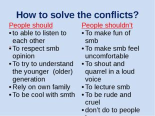 How to solve the conflicts? People should to able to listen to each other To