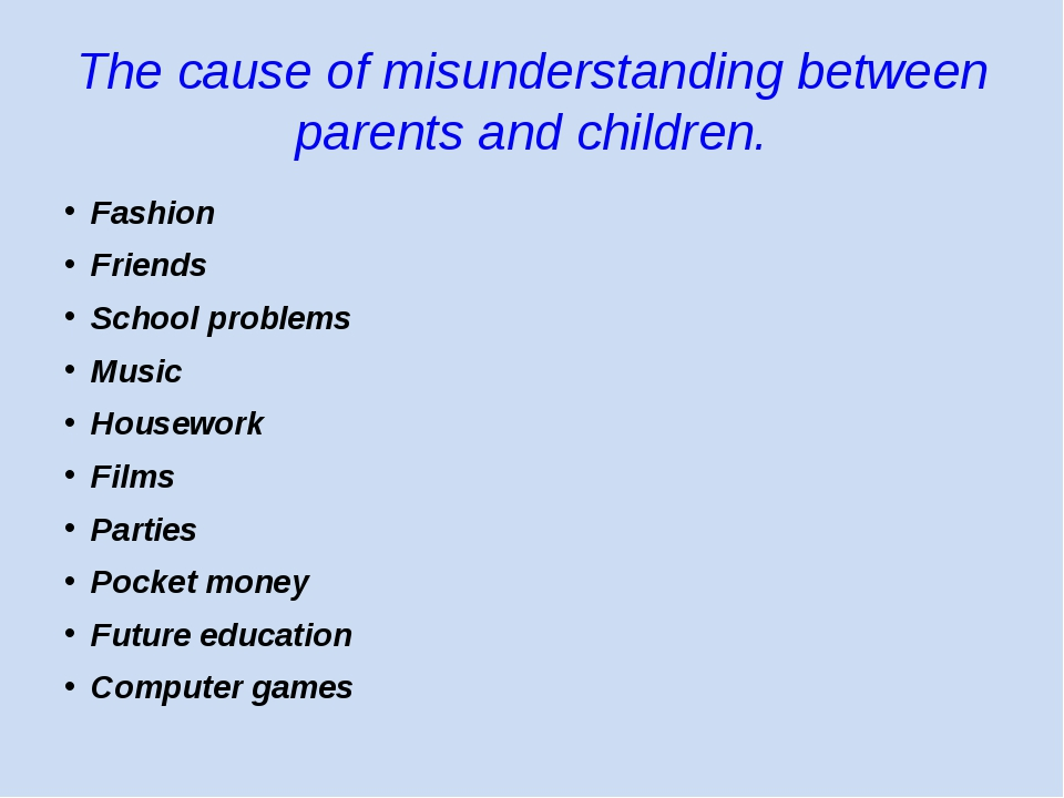 The cause of misunderstanding between parents and children. Fashion Friends S...