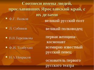 Соотнеси имена людей, прославивших Ярославский край, с их делами Ф.Г. Волков