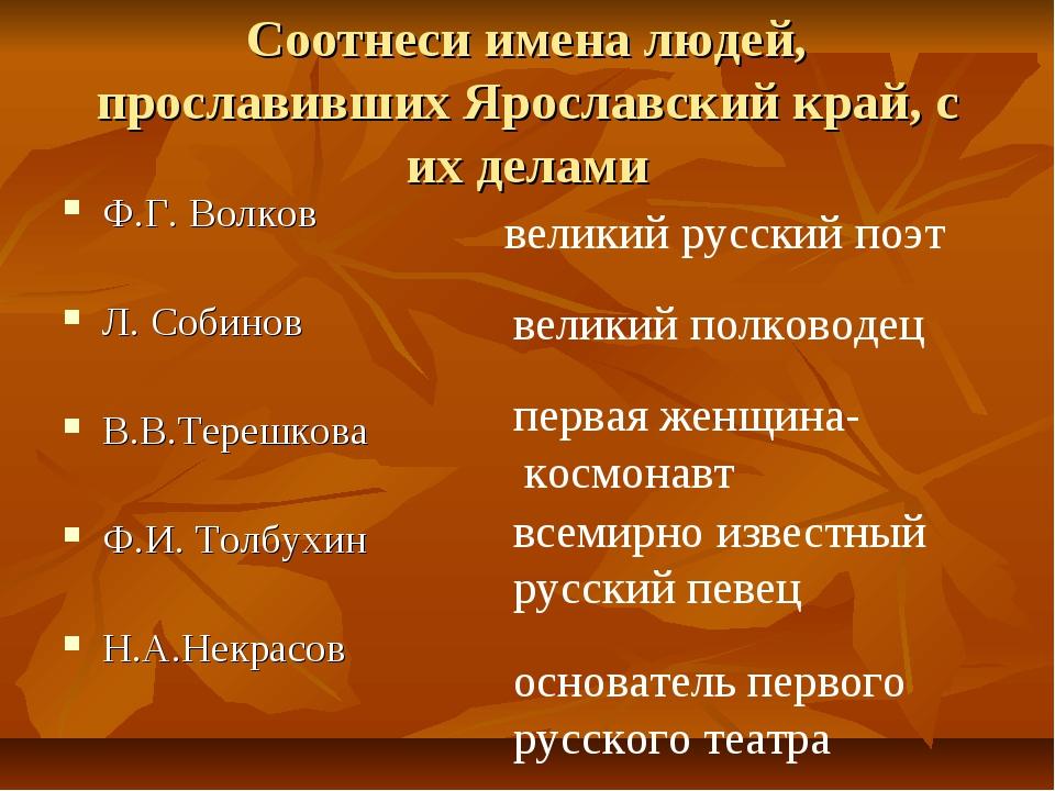 Соотнеси имена людей, прославивших Ярославский край, с их делами Ф.Г. Волков...