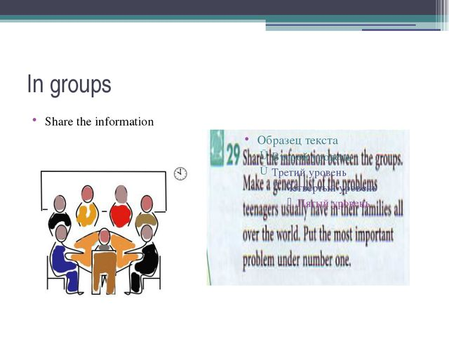 In groups Share the information