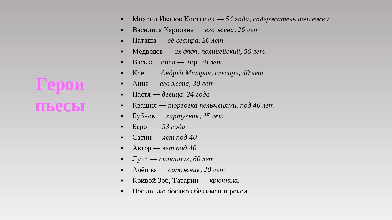 Михаил ИвановКостылев—54 года, содержатель ночлежки Василиса Карповна—ег...